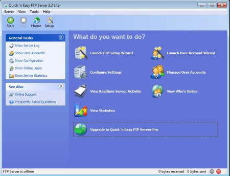 Quick 'n Easy FTP Server Lite free FTP server software default window