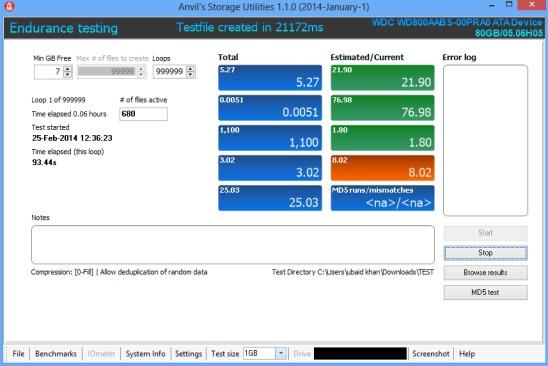 Anvil's Storage Utilities - endurance test report