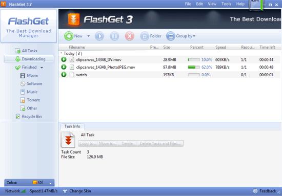 FlashGet- interface