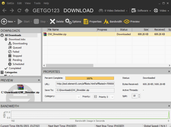 GetGo Download Manager- interface