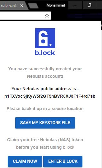 b.lock claiming URL for earning NAS